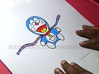 How to Make Handmade Doremon Rakhi Drawing for Kids Step by step