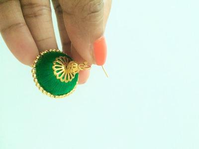How to make  Silk Thread Jhumkas.Silk Thread Jhumka Tutorial