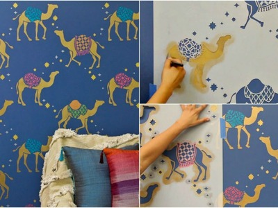 How to Stencil Metallic Moroccan Camel Wallpaper Patterns