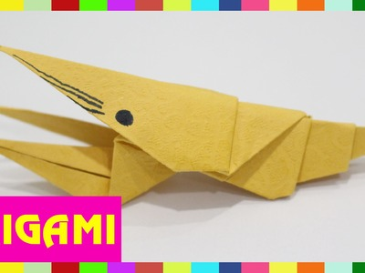 Origami Shrimp - How To Fold Shrimp  (Kasumi paper)