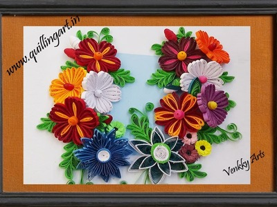 Quilling Made Easy # How to make Beautiful New design Quilling Flowers -  Wall Decoration