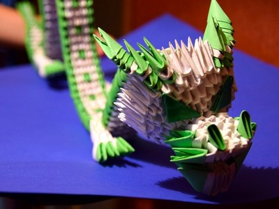 3D origami green Chinese dragon of paper tutorial