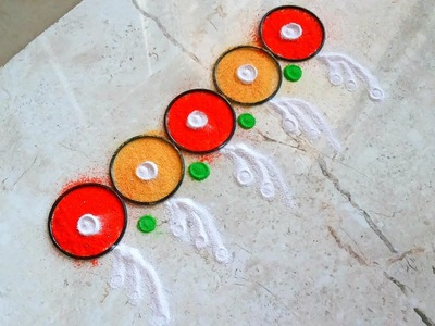 Beautiful multicolored border rangoli |  How to make easy Fancy Border. Toran Rangoli Designs