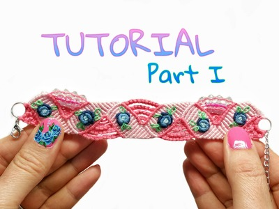 Blue Rose  Micro Macrame Hand Embroidery Bracelet PART #1 ( DIY)