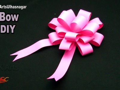 DIY Easy paper bow gift wrap | How to make | JK Arts 1051 #PaperBow