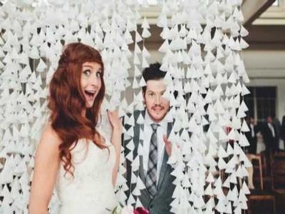 DIY wax paper wedding backdrop