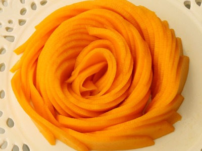 How It's Made Mango Rose Flower | Fruit Carving Garnish | Party Garnishing