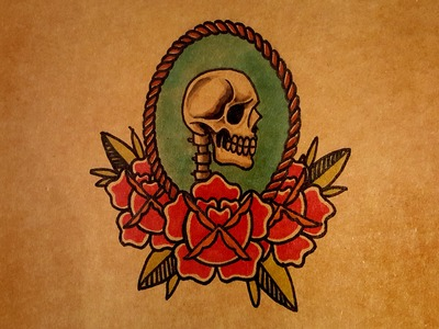 How to Draw a Skull, Rose and Rope Banner by thebrokenpuppet