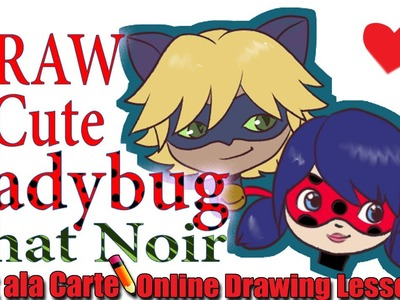 How to Draw Easy Cute Chibi Chat Noir and Miraculous Ladybug