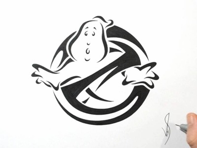 How to Draw Ghostbusters Logo - Tribal Tattoo Design Style