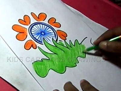 How to Draw Independence day Flower Greeting Step by Step