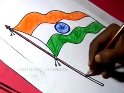 How to Draw INDIAN FLAG Detailed Drawing Step by Step For Kids
