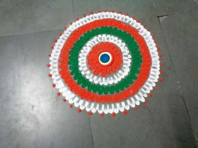 How to draw nice indian flag three colour in rangoli design   crated by latest rangoli