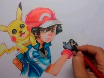 How To Draw Pokemon : Speed Drawing Satoshi And Pikachu. (Fanart)