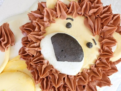 How to make a friendly lion cake using a Wilton cake pan - Buttercream Lion cake
