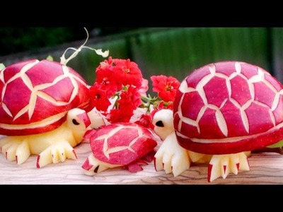 How To Make Apple Turtles - Fruit Carving Garnish - Sushi Garnish - Food Art Decoration