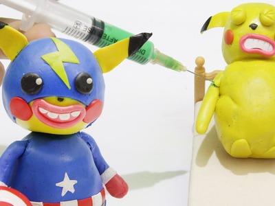 How To Make Captain America Pikachu - Pokemon Superhero Play Doh Stop motion
