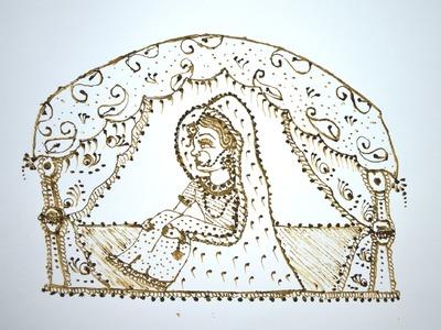 How To Make. Draw Dulhan Or Bride Seated  In Doli. Vidai Ritual In Henna. Mehndi