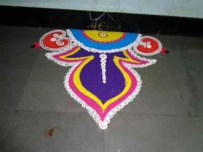 How to make free hand rangoli design - created by latest rangoli