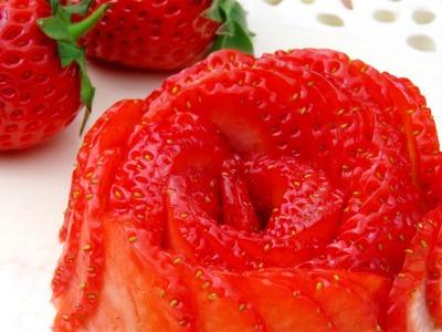 How To Make Strawberry Roses   Fruit Art Garnish   Sushi Garnish   Food Decoration