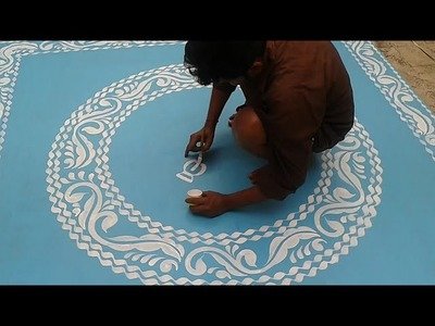 How to Paint Amazing Alpana. Rangoli Designs for Laxmi Puja (Part - 1)