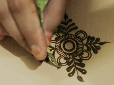 How To Practice Basic Simple Mehndi Design:Circular with Leaf Mehendi Art