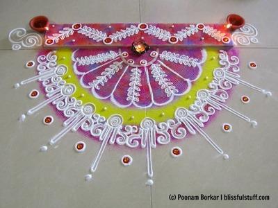 Innovative semi-circle rangoli using paper quilling comb | Diwali special rangoli by Poonam Borkar