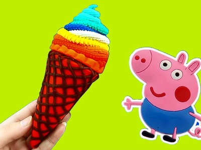 Learn Colors w Peppa Pig Toys - How To Make Ice Cream With Play Dough Fun & Creative For Kids