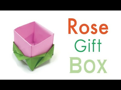 Origami Paper Rose Flower Gift Box
