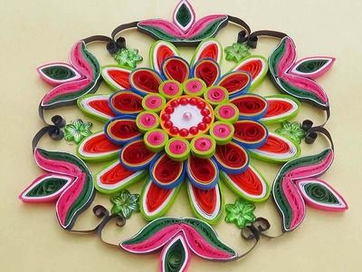 Paper Quilling |Easy and simple rangoli using flowers | Creative rangoli designs for Diwali festival