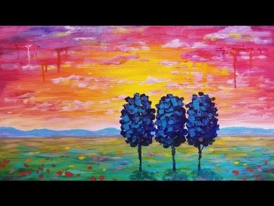 Simple Sunset Landscape | How to Paint Drip Trees & Clouds | Live Beginner Acrylic Painting Tutorial