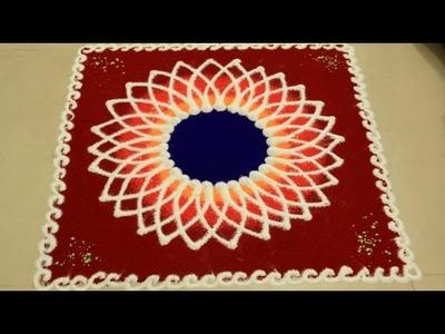 Beautiful Very Simple Rangoli DIY:Creative Multicoloured Rangoli(Alpana)By MehndiArtistica