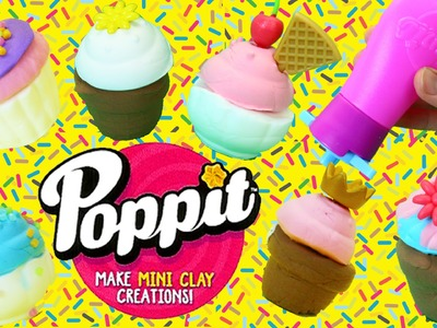 Clay Cupcakes & Ice Cream Cones DIY Poppit Clay Dough For Shopkins Shoppies Dolls CHALLENGE Game