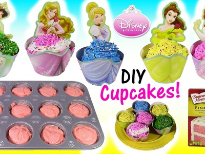 DIY Disney Princess CUPCAKES! Decorate Belle Cinderella Ariel with ICING & SPRINKLES! Baking FUN