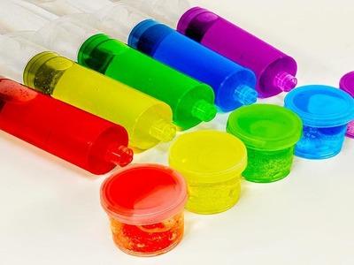 DIY: How to Make Rainbow Slime Decorations Using Syringes & Liquid Glass Borax Slime! Learn Colors!