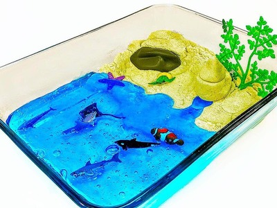 DIY: Make Your Own KINETIC SAND & BORAX SLIME BEACH SCENE!