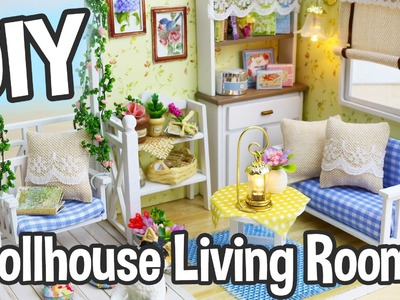 DIY Miniature Dollhouse Kit Cute Living Room Roombox with Working Lights!. Relaxing Crafts