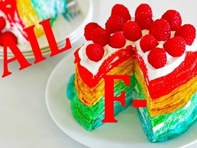 DIY Rainbow Nutella Funfetti Crepe Cake FAIL. .