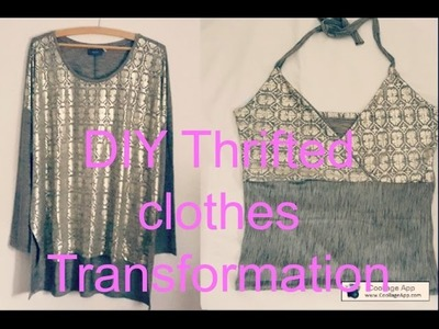 DIY Thrifted Transformation from Blouse to halter top