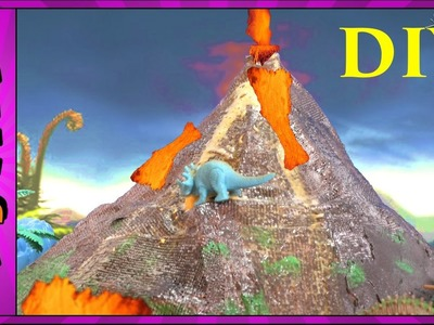 "DIY VOLCANO ERUPTION with Lava ""Making Dinosaur Volcano"" Science Kit Volcanoes Videos for Kids"