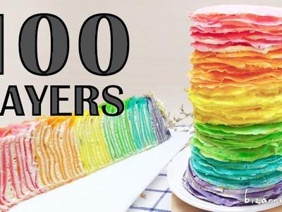 100+ Layers CAKE | Rainbow Mille Crepe Cake | bizarre island