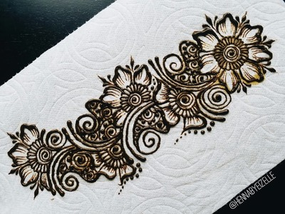 Freehand Henna (Mehndi) Design 3: How to Draw a Simple Flower Strip