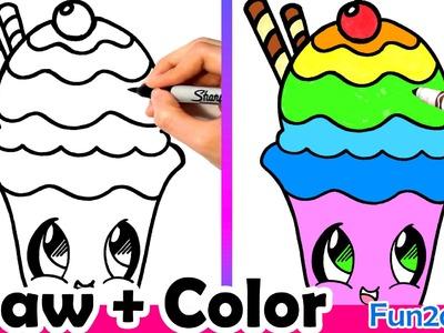 How to Draw a Rainbow Sundae Cute + Easy