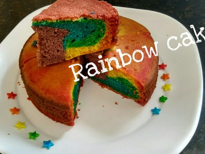 How To Make homemade Rainbow Cake Recipe for beginners.Without oven.eggless cake in cooker.tasty#253