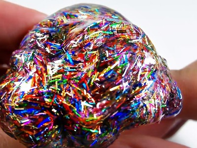 HOW TO MAKE SUPER HOLO RAINBOW LIQUID GLASS THINKING PUTTY - Elieoops