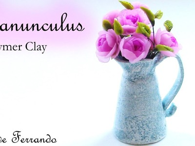 Miniature Polymer Clay Fimo Ranunculus Flower Arrangement Tutorial