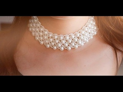 Pearl Jewelry Design   How to Make a Handmade White Pearl Bead Statement Necklace