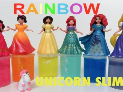 Rainbow UNICORN SLIME Sparkling Disney Princess Magiclip Colors Ariel Belle Jasmine Rapunzel