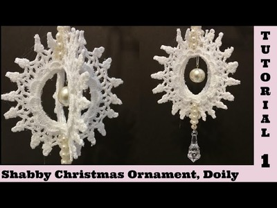 Spin Doily 1,  Christmas Ornament, Snowflake, Shabby Chic Tutorial, decor. by Devotion