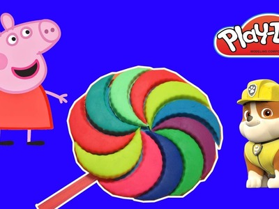 Toy for kids !! Peppa pig play doh - How to do rainbow lollipop with Paw patrol